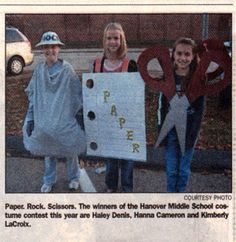 Rock Paper Scissors Costume - this is so awesome!