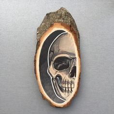 Wood / trice slice with original drawing / illustration of a human skull, wall art.