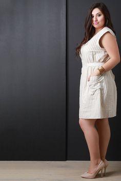 Relaxed Pinstripe Short Sleeve Dress