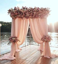 Popular wedding decorations the most popular waterfront wedding arch ideas arbor decorations rustic charming beach decoration Dusty Pink Weddings, Dusty Rose Wedding, Sage Wedding, Elegant Wedding, Dream Wedding, Wedding Draping, Wedding Ceremony Backdrop, Ceremony Arch, Trendy Wedding
