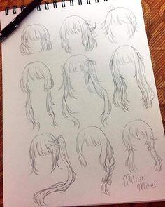 Anime Drawings Sketches, Pencil Art Drawings, Anime Sketch, Manga Drawing, Cute Drawings, Drawing Hair, Girl Drawings, Gesture Drawing, Drawing Faces