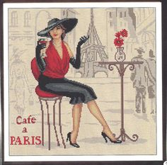 Cross Stitch Pattern ' Lady in Paris' 1 by CrossStitchPatternss