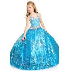 A beautiful pageant gown for your toddler or little girl by Party Time Formals. Long little girl ball gown with sweetheart neckline, heavily beaded medium crystal bodice along with single and double straps as well as waistline. Full soft tulle skirt with