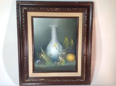 Vintage Still Life Oil Painting of Fruit and Vase by Artist R Monti Wood Frame