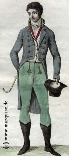 Frac with embroidered waistcoat, c. 1800 Source: Le Costume Parisien