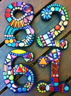 Custom mosaic numbers by Tina @ Wise Crackin' Mosaics
