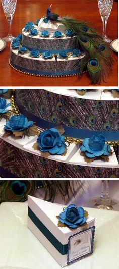 Peacock wedding favor cake boxes and centerpiece