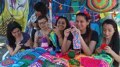 Members of Santiago-based yarn-bombing group Lanaattack (Wool Attack)
