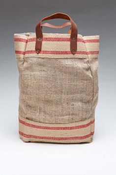 burlap tote with chambray lining + leather handles