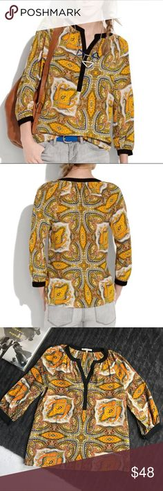 """MADEWELL silk paisley blouse Gently worn Broadway and Broome silk paisley blouse. Women's size XS. 100% silk. V-neck, half sleeve style. Gorgeous, bright paisley pattern. Worn twice- excellent condition. Broadway and Broome - sold exclusively by Madewell  Measurements: 17.5"""" across bust, 24"""" shoulder to bottom, 11"""" armpit to sleeve. Madewell Tops Blouses"""