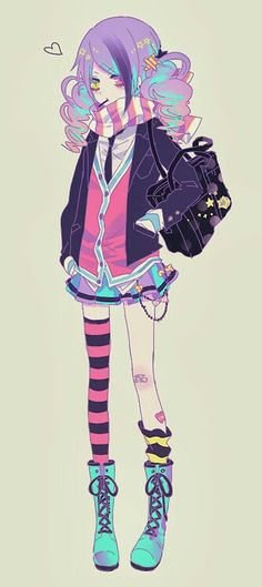 Anime Girl-Very colorful. Death The Kid would have a spasim