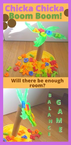 My Preschooler and Kindergartener loved playing this DIY Balance and Letter recognition game based on the classic book Chicka Chicka Boom Boom. Click for a detailed how-to and play ideas plus my ten favoriate Chicka Chicka Boom Boom activities from around the web including art projects, crafts, coloring pages, sensory bins, and more! Preschool Lessons, Teaching Kindergarten, Toddler Preschool, Student Learning, Fun Learning, Toddler Activities, Preschool Activities, Letter Recognition Games, Letter Games