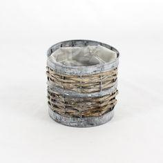 Flormania - Cesto em zinco com aplicações de vime