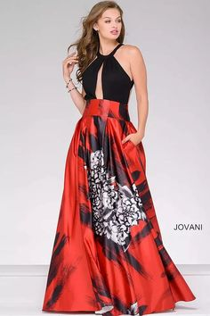 Black and Multi Satin Prom Ballgown 36562