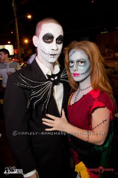 jack and sally skelington with awesome makeup details - Halloween Jack Costume