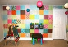 Cute look for kids. This one done with scrap book paper but using samples from wallpaper books would work too
