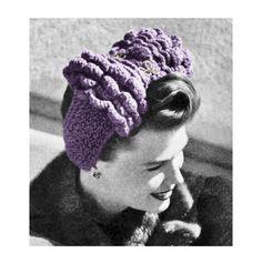 1940s Pin Up Head Scarf Turban Headband Knitting Pattern PDF Treasury Item. $3.00, via Etsy.