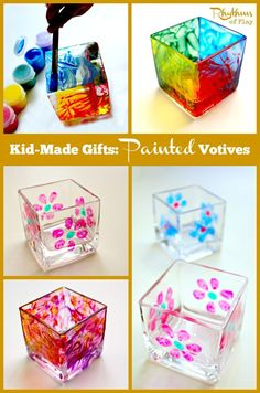 These kid made painted votives are so simple to make even a toddler can do it! They make wonderful gifts for birthday's, Christmas, Mother's Day, Father's Day, or any other special occasion! Gift Ideas DIY Project Kids Craft Kid-Made Gifts Homemade Kids Gifts, Diy Gifts For Kids, Diy Projects For Kids, Crafts For Kids To Make, Christmas Gifts For Kids, Kids Crafts, Christmas Crafts, Kid Craft Gifts, Valentine Crafts