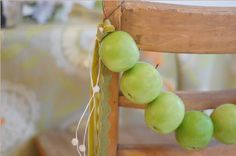 Rustic, country chair decoration using apples
