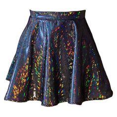 Beam Me Up-Hologram Skater Skirt ($50) ❤ liked on Polyvore featuring skirts, bottoms, saias, faldas, fitted skirts, holographic skirt, hologram skater skirt, circle skirt and hologram skirt