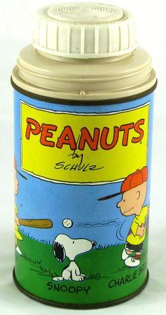 PEANUTS vintage 1959 metal THERMOS Bottle 8-oz Snoopy Charlie Brown Lucy Linus