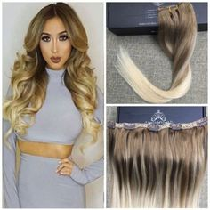 BALAYAGE-OMBRE-ONE-PIECE-CLIP-IN-HUMAN-HAIR-EXTENSIONS-ASH-BROWN-BLONDE-LONG