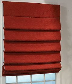 Eye catching red roman shades. Phase II Roman Soft Fold Style Shades #blinds #shades