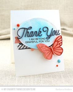Kind Thanks, Twice the Thanks, Flutter of Butterflies - Lace, Flutter of Butterflies, Solid, Blueprints 12 Die-namics, Blueprints 13 Die-namics, Blueprints 27 Die-namics, Wonky Stitched Oval STAX Die-namics - Barbara Anders  #mftstamps