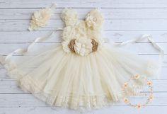Rustic flower girl dressburlap girls lace dress Ivory flower