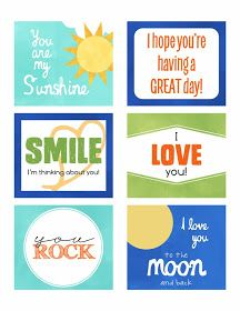 Free printable - Lunchbox Notes