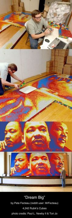 Rubik's Cubes Portrait of Martin Luther King Jr.: by Designer Pete Fecteau I love mixed media art! Rubik's Cube, Photo L, Cool Photos, Amazing Photos, Mixed Media Art, Dream Big, Mosaic, Artsy, The Incredibles