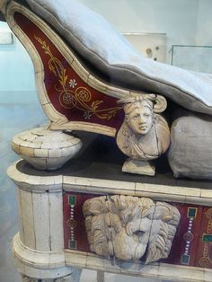 Roman couch and footstool with bone carvings and glass inlays Roman 1st century CE possibly from the villa of co-emperor Lucius Verus 161-169 CE (2)