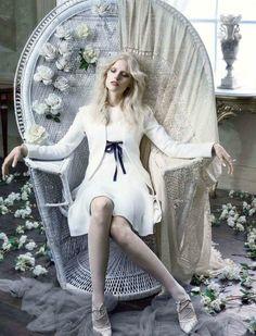 """Romantic White"" Mia Stass for Glamour Italy May 2015"