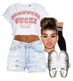 Homework sucks by arii-bankss on Polyvore featuring polyvore fashion style Tee and Cake Akira Ross-Simons Converse clothing