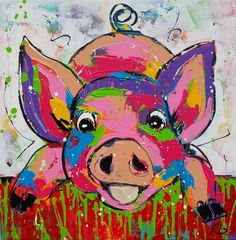 URYY DIY Diamond Painting by Number Kit Crystal Rhinestone Embroidery Cross Stitch Arts Craft Home Wall Decor(Pig) Pig Art, Farm Art, Colorful Animals, Art Party, Whimsical Art, Animal Paintings, Rock Art, Painting Inspiration, Art Lessons