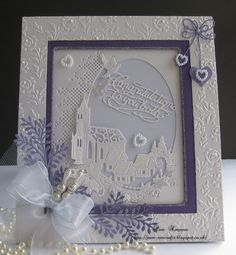 Village Church. Wedding Card.   Tattered Lace and Sue Wilson dies.