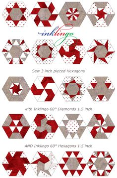 Inklingo PIeced Hexagons - Print shapes on fabric with your Inkjet and sew by hand or by machine.