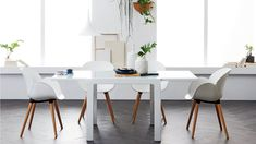 With ultra sleek lines the Monaco extension table features a timeless design to suit traditional and contemporary design schemes. Dining Table Lighting, Modern Dining Table, Dining Chairs, Modern Pendant Light, Pendant Lighting, Pendant Lamp, Modern Interior Design, Contemporary Design, Industrial Hanging Lights