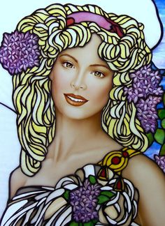 Art Nouveau Style Lilac Stained Glass by Jim M. Berberich, Bogenrief Studios, inspired by Alphonse Mucha
