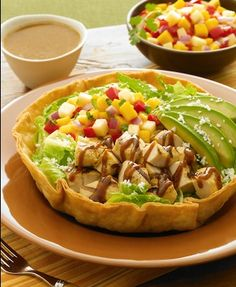 I just got some tortilla bakers to make the 'bowl' for salads. AND found where to buy fresh tortillas nearby! Mexican Salads, Mexican Food Recipes, Ethnic Recipes, Mango Chicken Salads, Healthy Salads, Healthy Recipes, Fresh Tortillas, Latin Food, Healthy Choices