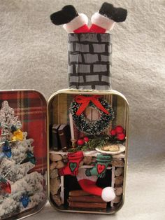 Christmas Holiday Santa Stuck in Chimney Fire Mantel by Apensons