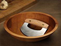 Hand-Crafted Chopping Bowl & Mezzaluna.