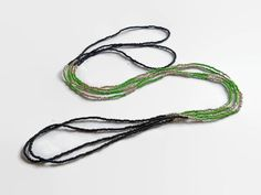 Seed bead necklace color block black green silver by xEsFunThings