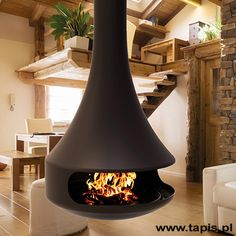 Pellet Stove, Ceiling Lights, Interior Design, Lighting, Wood, Home Decor, Design Trends, Interiors, Carpet