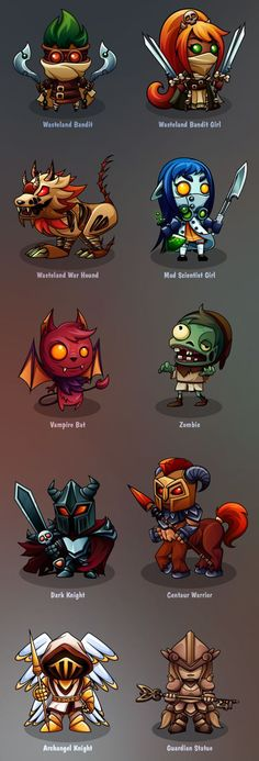 Characters design - Mobile turn-based game by Fgfactory, via Behance