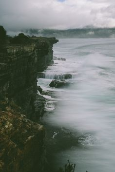 ocean waves. fog. pretty landscape.