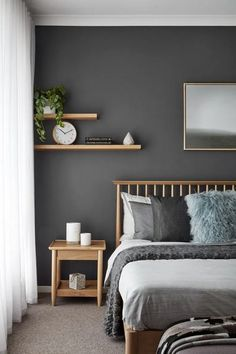 Home Interior Inspiration The 26 Best Bedroom Wall Colors.Home Interior Inspiration The 26 Best Bedroom Wall Colors Bedroom Wall Colors, Bedroom Color Schemes, Grey Bedroom Walls, Grey Bedroom Design, Dark Gray Bedroom, Bedroom Interior Design, Charcoal Bedroom, Wood Bedroom, Bedroom Wall Designs