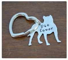 Pitbull Lover Keychain - Dog Lover - Pitbull Dog Key Ring - Pet ID Tag - Collar Tag - Save Pitbulls