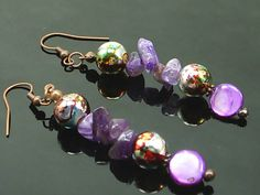 Charming, Colorful, Amethyst and Shell Gemstones Earrings Designer Jewelry, Handcrafted Jewelry  Design 2486MJ