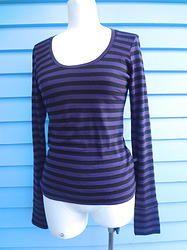 Merino Long Sleeve Top - Purple Stripe
